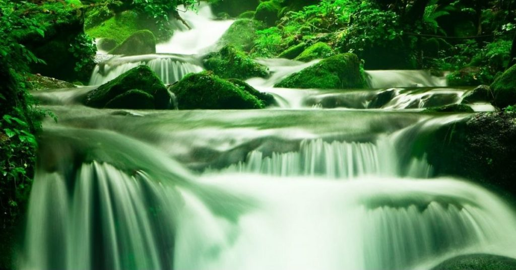 Flowing river with mossy rocks - PCS Counseling